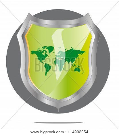 Illustration Of Green World Map In Grey Shield