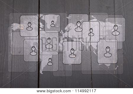Illustration Of People On White World Map On Dark Black Wooden Background