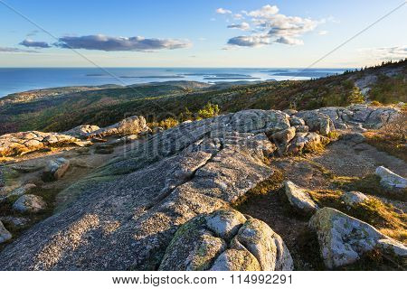 Mountain Top View of Sunset Along Coastline