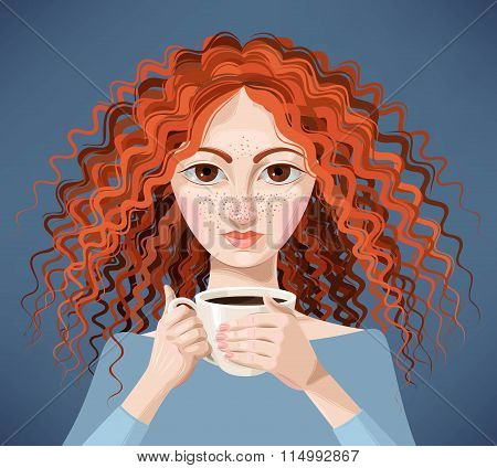 Ginger girl with coffee