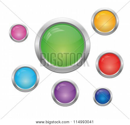 Set Of Round Buttons