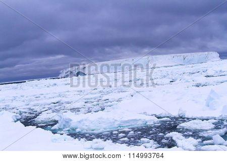 Antarctica Sunset With Tabular Iceberg