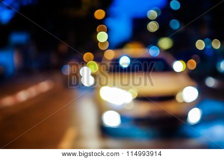 Blurred Night Street With Car And Lights Bokeh