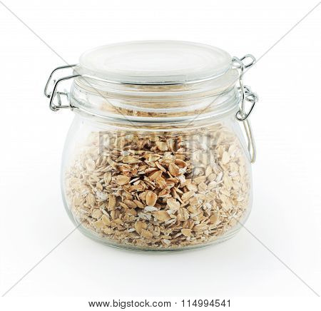 gass storage jar of oat flakes