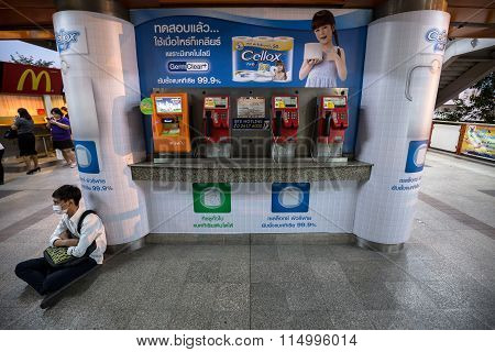 public payphone and top up machine a : Public Payphone And Top Up Machine On The Corner With Adverti