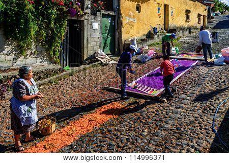 Making Holy Saturday Carpet, San Juan Del Obispo, Guatemala