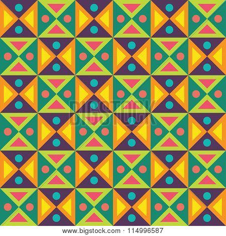 Vector modern seamless colorful geometry triangles dots pattern color abstract