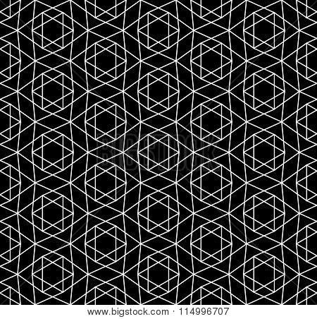 Vector modern seamless sacred geometry pattern david star black and white abstract