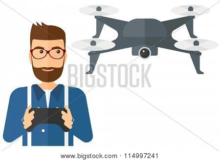 Man flying drone.
