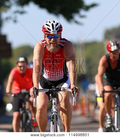 Cycling, Happy Man In Beard And Sun-glasses Smiling