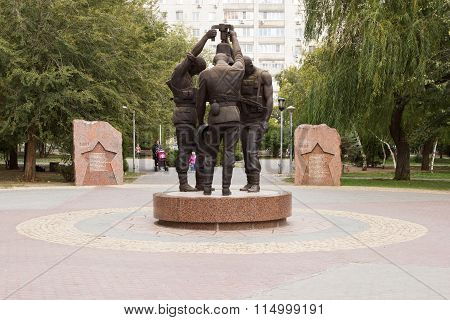 Three Soldiers With The Bell. Volgograd, Russia