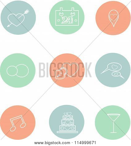 Round wedding icons, thin white lines in pastel pink, blue, green, cool colors