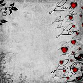 pic of wedding invitation  - Romantic vintage background with red hearts and text love  - JPG