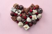 Chocolate candies heart poster