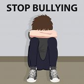 stop bullying kids bully victim young child bullied vector illustration poster