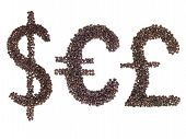 Currency Symbols Made With A Coffee Beans
