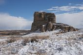 stock photo of western nebraska  - jail rock in the snow - JPG
