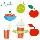Постер, плакат: Red apple fruit and juice vector set