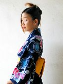 Asian Girl Wearing Yukata