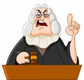 picture of supreme court  - Vector cartoon illustration of a tough judge - JPG