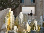 Scultural Rock And Water Fountain At Museum