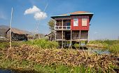 Постер, плакат: Houses of Inle Lake village