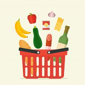 Постер, плакат: Supermarket basket with food