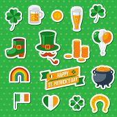 Set Of Happy St. Patricks Day Flat Icons poster