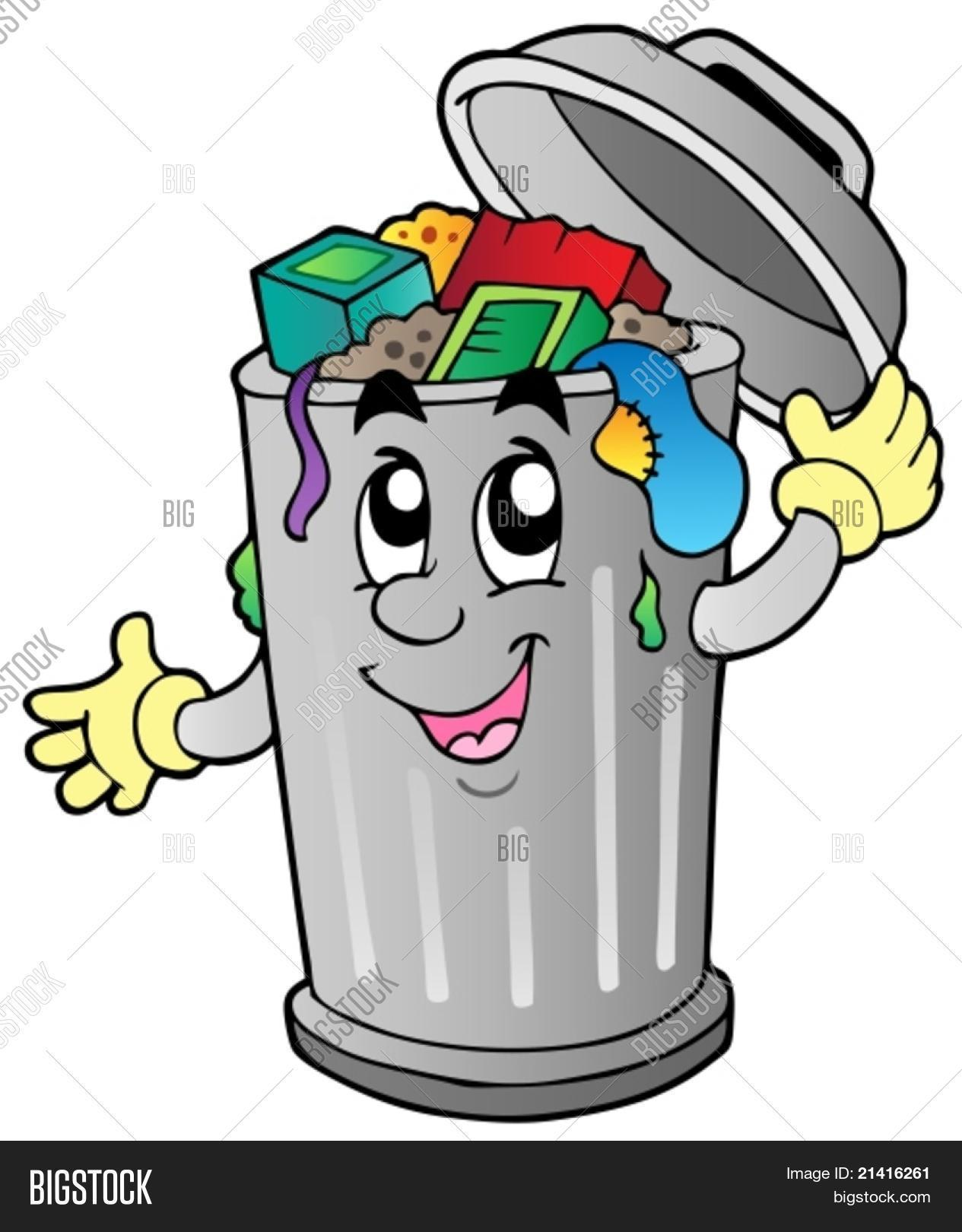 Cartoon trash can - vector illustration. Stock Vector & Stock Photos ...