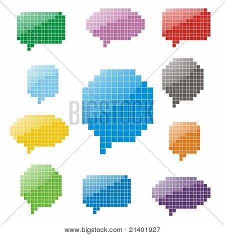 Pixel glossy speech bubbles