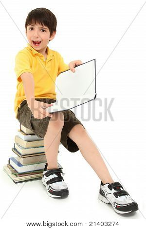 Crazy Faces School Boy Child With Books