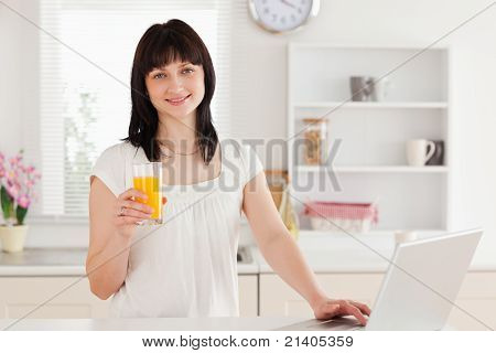 Gorgeous Brunette Woman Holding A Glass Of Orange Juice While Relaxing With Her Laptop