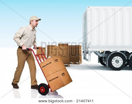 young delivery man with red handtruck