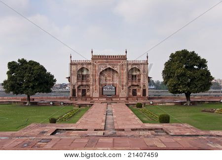West Gate On Yumana River Bank At Agra's Baby Taj Mausoleum In India.