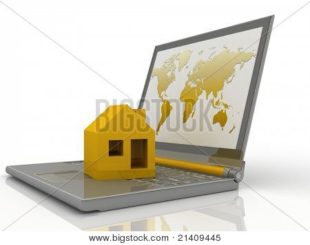 House on laptop isolated on white background
