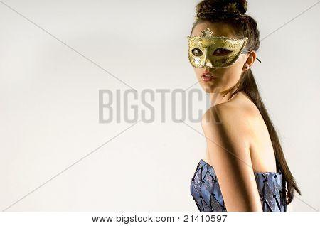 Young Teen Woman At Masquerade Ball