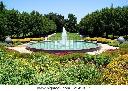 Garden with water fountain