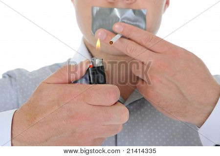 Businessman holding a cigarette