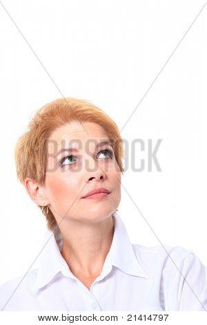 Portrait of a pretty business woman looking happ