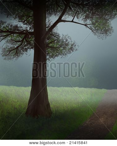 tree in the mist painting