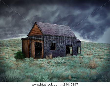 abandoned shack illustration