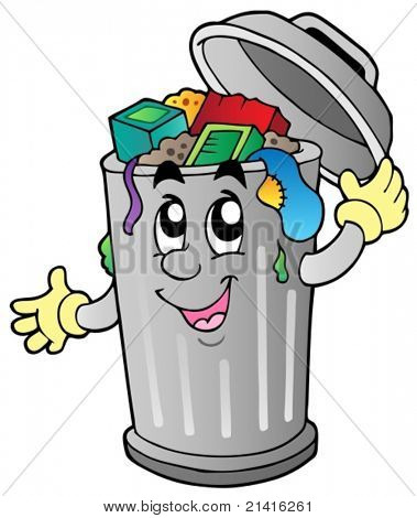 Cartoon trash can - vector illustration.