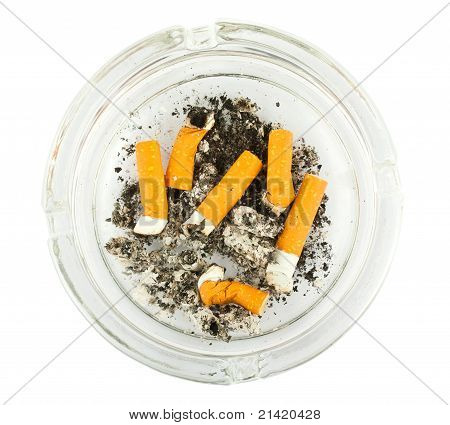 Ashtray With Stubbed Out Cigarette Butts