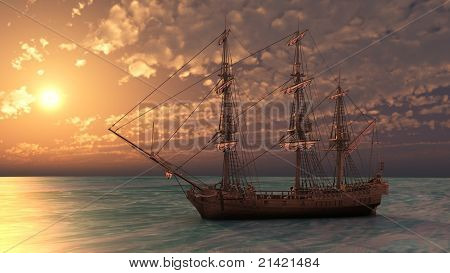 ship in the sea in sunset light