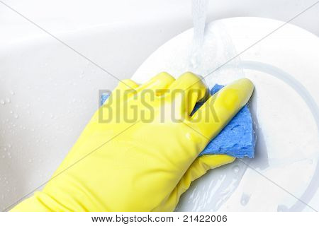 Washing A White Plate