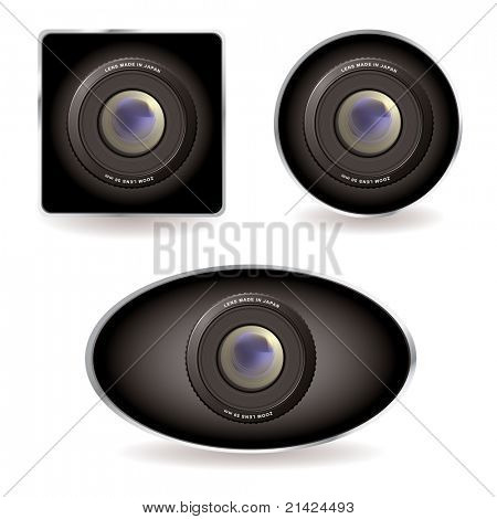 Collection of three web cams with zoom lens