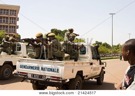 Soldiers at a military parade in Ouagadougou, Burkina Faso