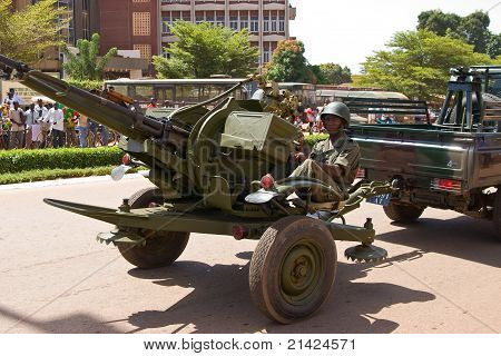 Anti-aircraft artillery at a military parade in Ouagadougou, Burkina Faso