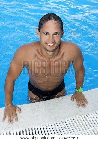 Man At Hotel Indoor Water Pool