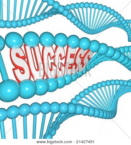 The word success in an illustrated DNA strand, showing that successful people are born to win, and that strength, determination and intelligence can be hereditary